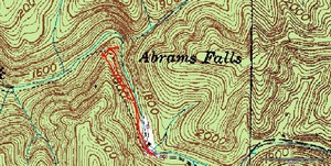 ~1mi roundtrip. This shows both the dangerous trail close to the creek and the safer high trail.