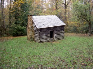 The Willis Baxter cabin is passed a short distance up the old road
