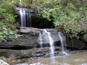 A small falls on a tributary falling into Cove Creek right where you have to cross