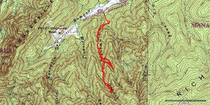 Topo and GPS track of our recent adventure on Simmons Branch