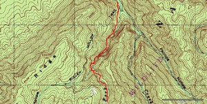 Topo and GPS track from parking past Margarette, Glen and Bailey Falls