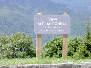 Viewing Mt. Mitchell and surrounding area from an overlook on the Blue Ridge Parkway