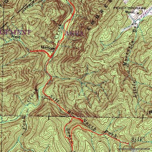 Topo and GPS track to Sill Branch, Upper Sill Branch and Hell Hollow Falls